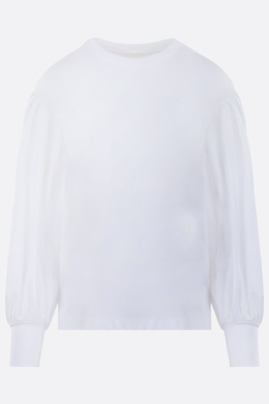 CHLOÈ: lace-detailed cotton blouse Color White_1
