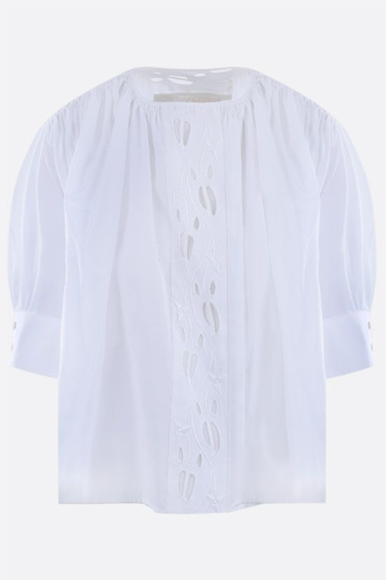 CHLOÈ: embroidered poplin blouse Color White_1