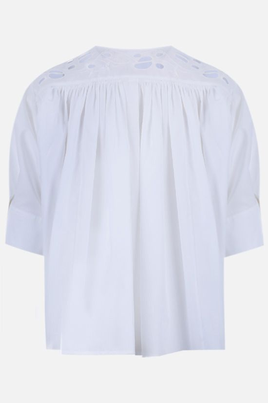 CHLOÈ: embroidered poplin blouse Color White_2