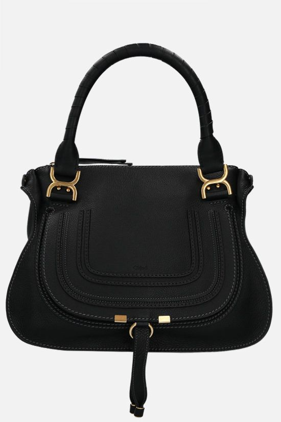 CHLOÈ: Marcie grainy leather handbag Color Black_1