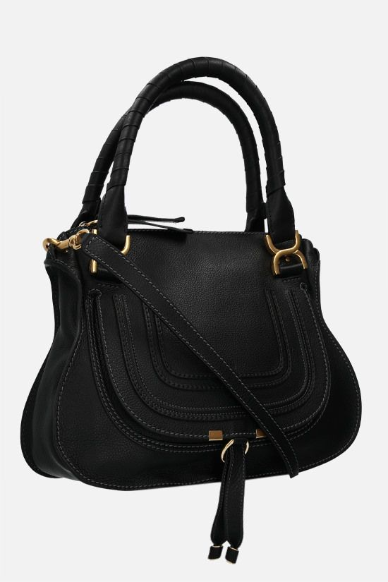 CHLOÈ: Marcie grainy leather handbag Color Black_2