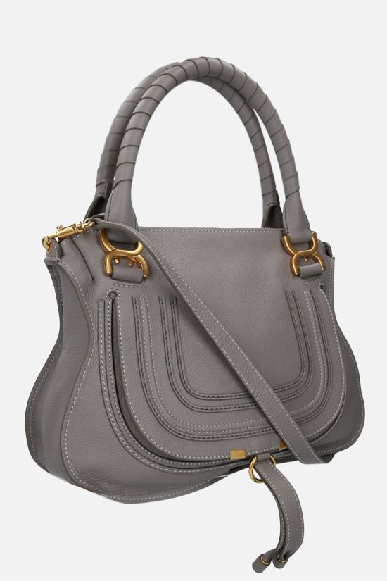 CHLOÈ: Marcie grainy leather handbag Color Grey_2