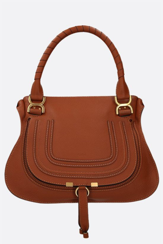 CHLOÈ: Marcie grainy leather handbag Color Brown_1