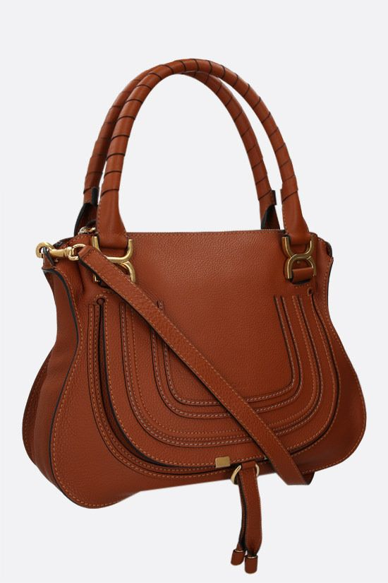 CHLOÈ: Marcie grainy leather handbag Color Brown_2