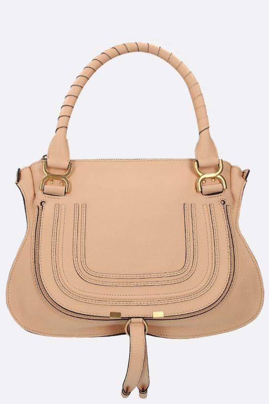 CHLOÈ: Marcie grainy leather handbag Color Neutral_1