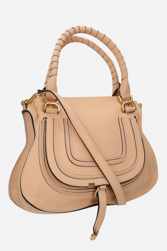 CHLOÈ: Marcie grainy leather handbag Color Neutral_2