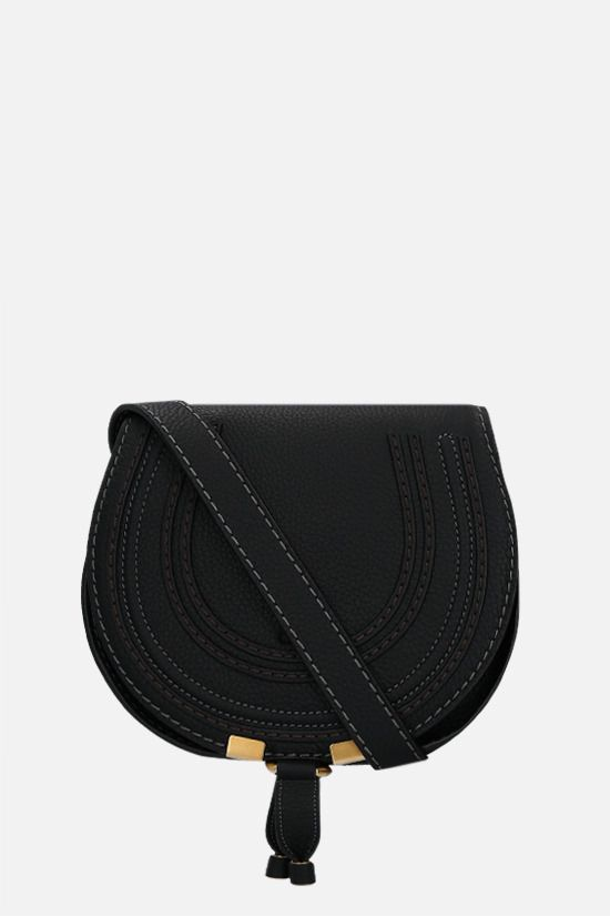 CHLOÈ: Marcie mini grainy leather shoulder bag Color Black_1