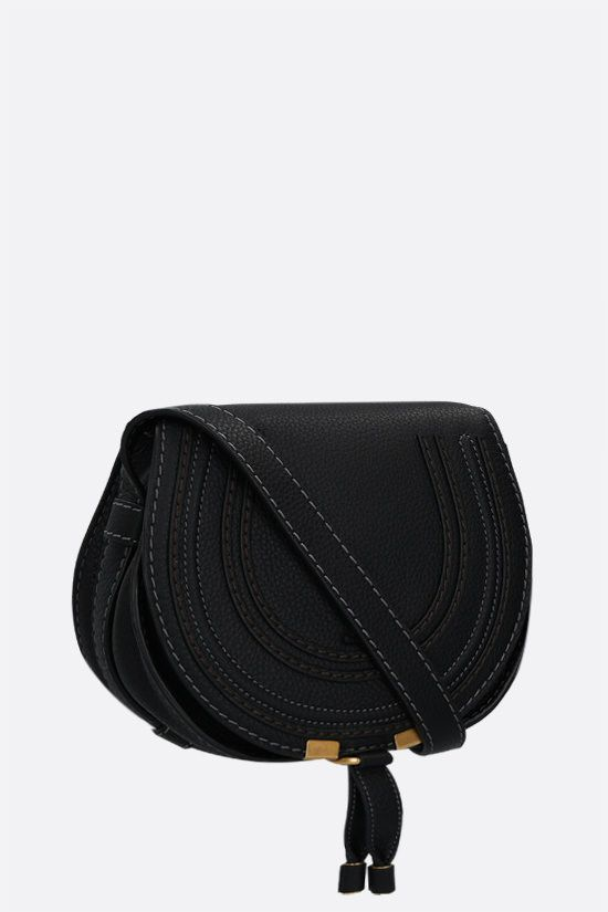 CHLOÈ: Marcie mini grainy leather shoulder bag Color Black_2