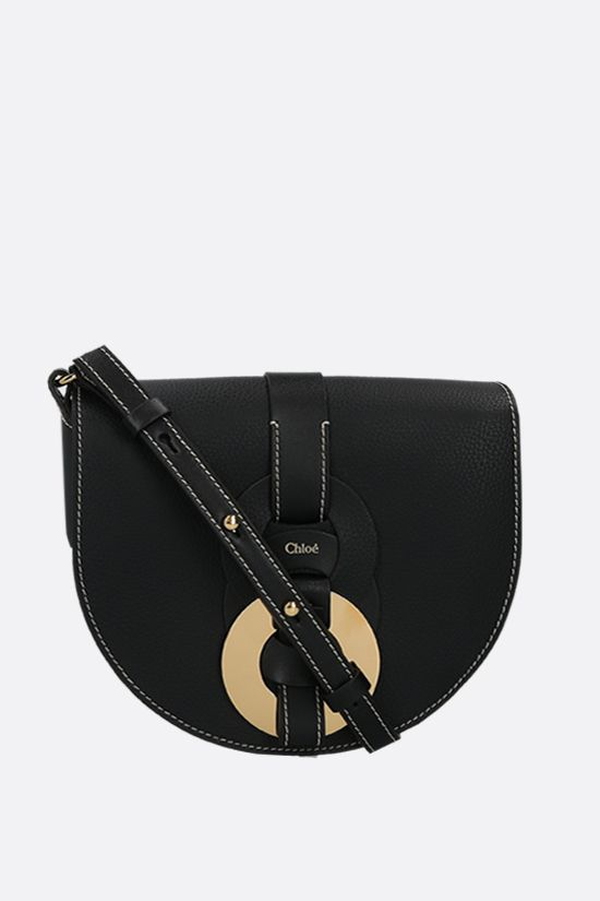 CHLOÈ: Darryl small grainy leather crossbody bag Color Black_1
