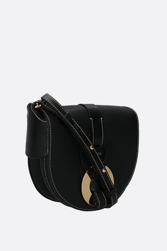 CHLOÈ: Darryl small grainy leather crossbody bag Color Black_2