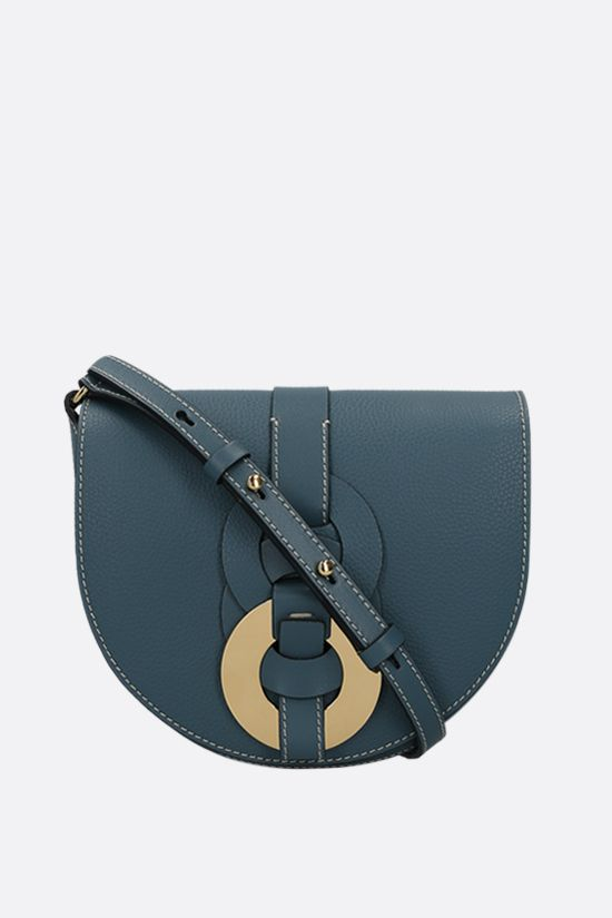 CHLOÈ: Darryl small grainy leather crossbody bag Color Blue_1