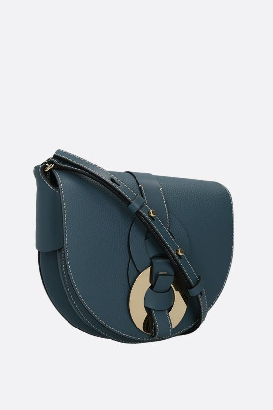 CHLOÈ: Darryl small grainy leather crossbody bag Color Blue_2