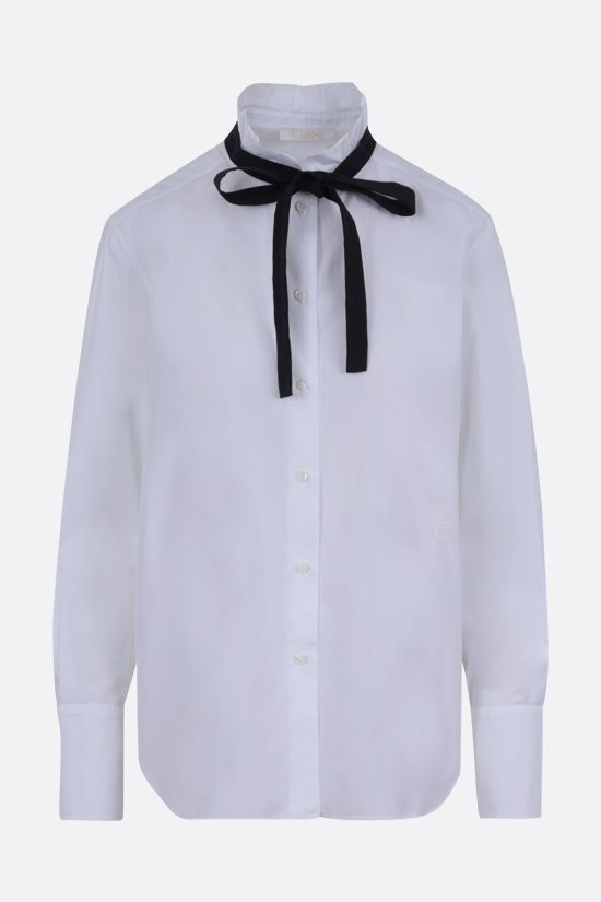 CHLOÈ: C embroidered cotton shirt Color White_1
