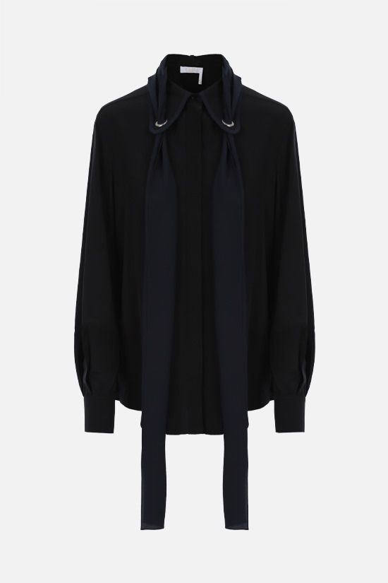 CHLOÈ: lavallière-detailed crepe de chine shirt Color Black_1