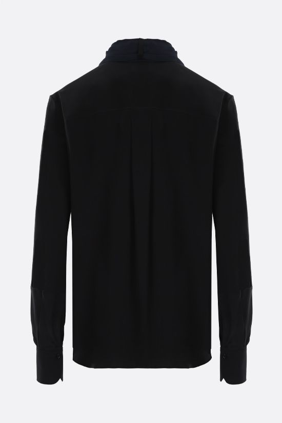 CHLOÈ: lavallière-detailed crepe de chine shirt Color Black_2