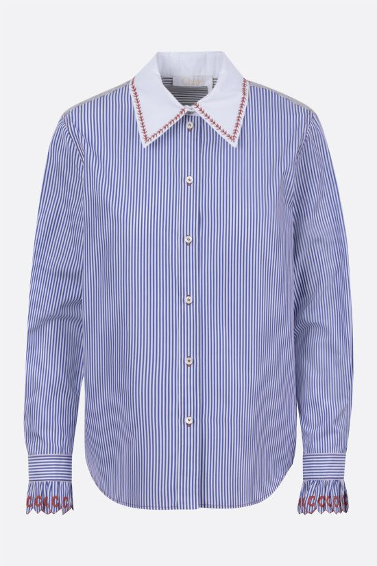 CHLOÈ: striped cotton shirt with contrasting collar Color Blue_1