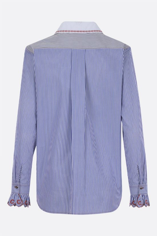 CHLOÈ: striped cotton shirt with contrasting collar Color Blue_2