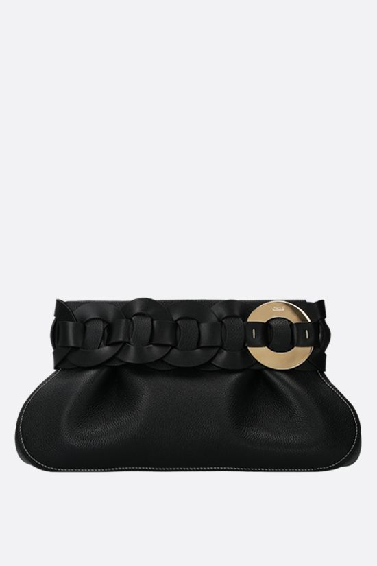 CHLOÈ: Darryl grainy leather clutch Color Black_1