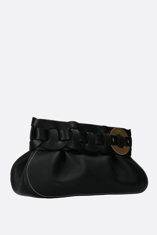 CHLOÈ: Darryl grainy leather clutch Color Black_2