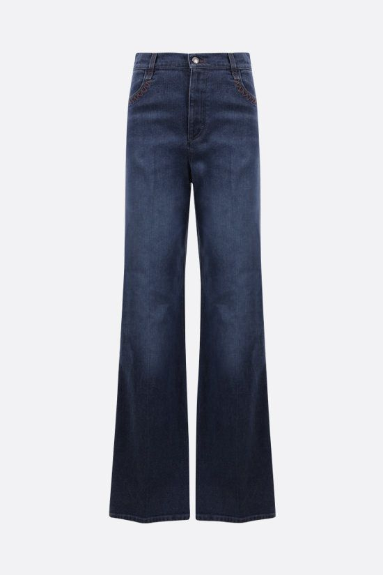 CHLOÈ: Chloè monogram-detailed flare jeans Color Blue_1