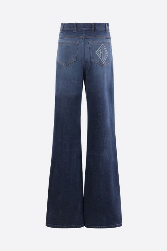 CHLOÈ: Chloè monogram-detailed flare jeans Color Blue_2
