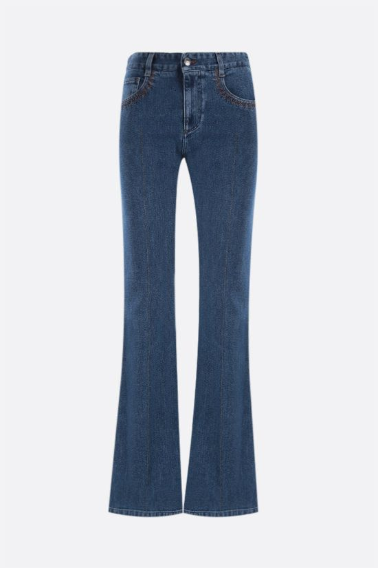 CHLOÈ: logo-detailed wide-leg jeans Color Blue_1