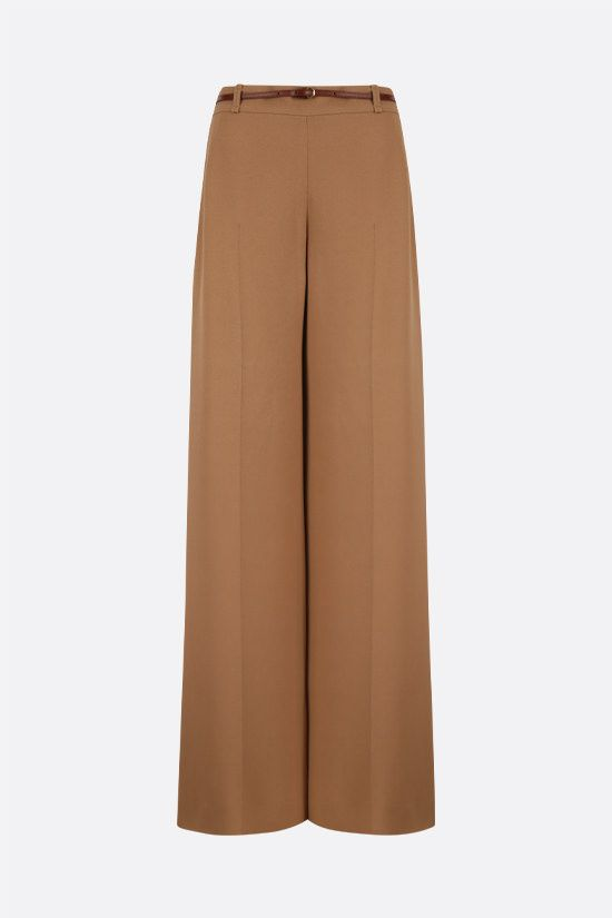 CHLOÈ: belt-detailed crepe wide-leg pants Color White_1