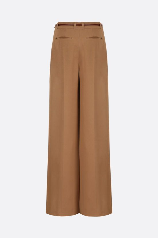 CHLOÈ: belt-detailed crepe wide-leg pants Color White_2