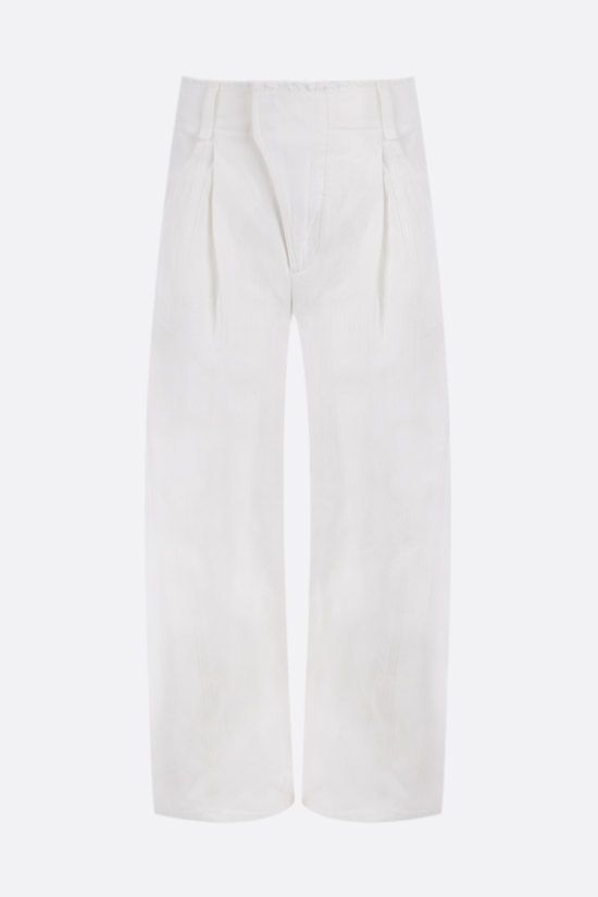 CHLOÈ: herringbone cotton cropped pants Color White_1