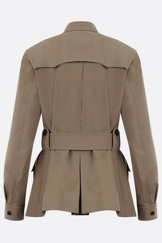 CHLOÈ: belt-detailed stretch cotton field jacket Color Grey_2