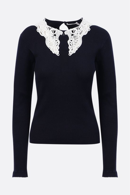 CHLOÈ: collar-detailed cotton pullover Color Blue_1