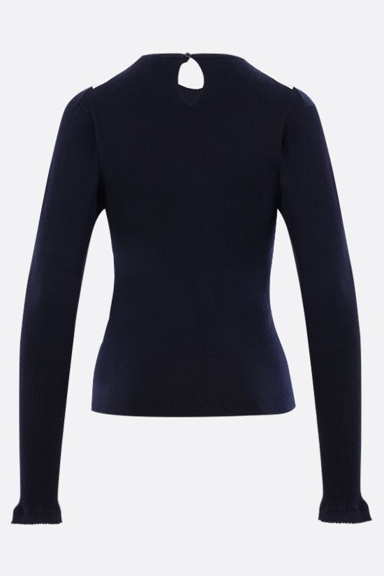 CHLOÈ: collar-detailed cotton pullover Color Blue_2