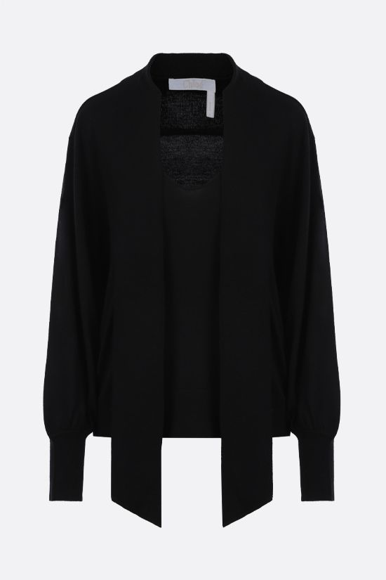 CHLOÈ: C embroidered wool pullover Color Black_1