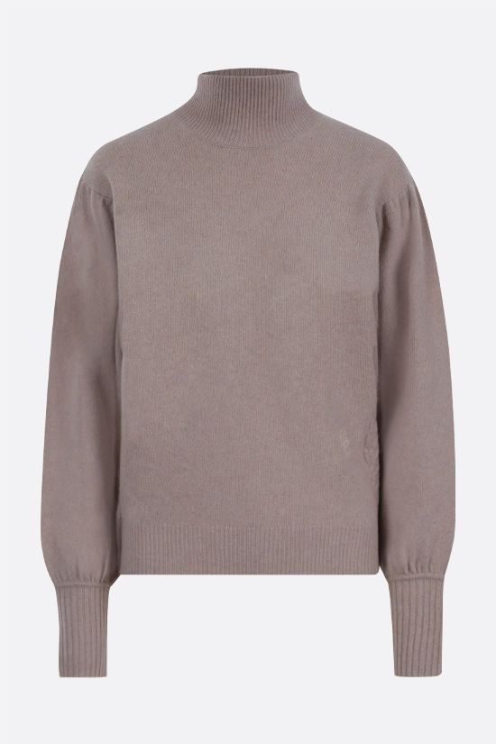 CHLOÈ: C embroidered wool cashmere blend turtleneck Color Brown_1