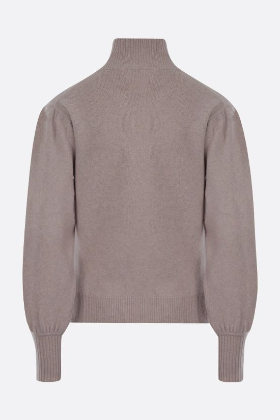 CHLOÈ: C embroidered wool cashmere blend turtleneck Color Brown_2