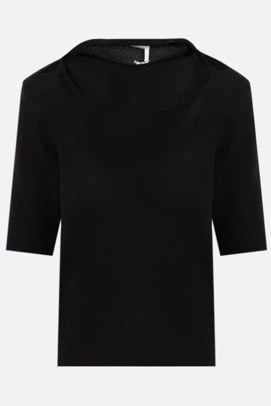 CHLOÈ: short-sleeved wool cotton blend pullover Color Black_1