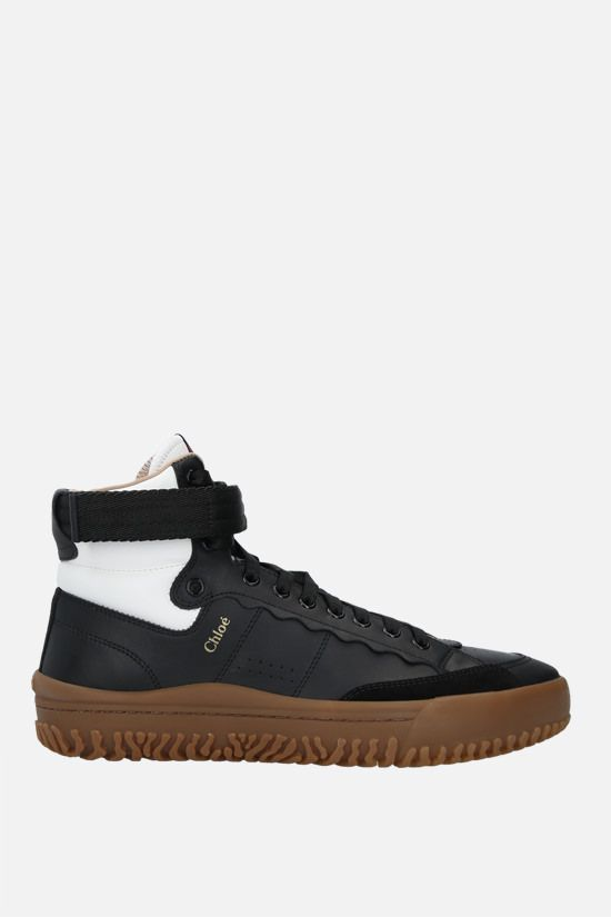 CHLOÈ: Franckie smooth leather high-top sneakers Color Black_1