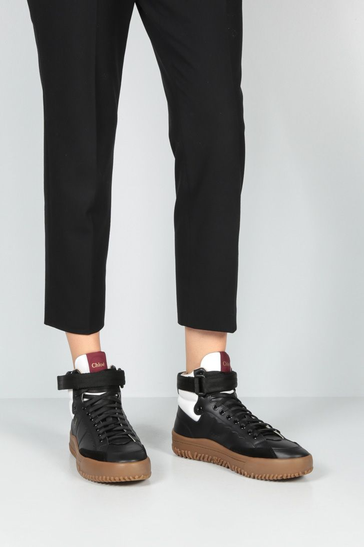 CHLOÈ: Franckie smooth leather high-top sneakers Color Black_2