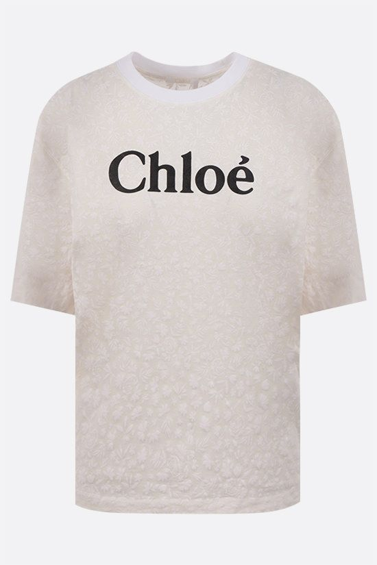 CHLOÈ: Chloè print cotton t-shirt Color White_1