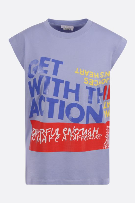 CHLOÈ: Corita Kent print sleeveless cotton t-shirt Color Blue_1