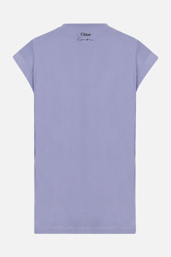 CHLOÈ: Corita Kent print sleeveless cotton t-shirt Color Blue_2