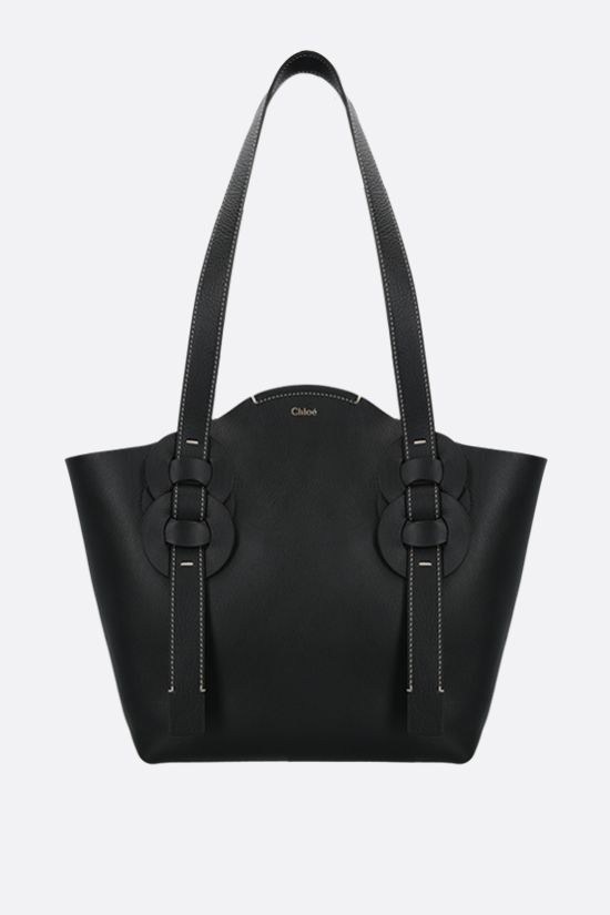 CHLOÈ: Darryl small smooth leather tote bag Color Black_1