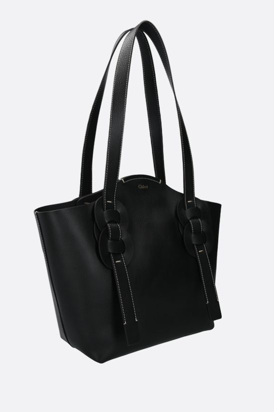 CHLOÈ: Darryl small smooth leather tote bag Color Black_2