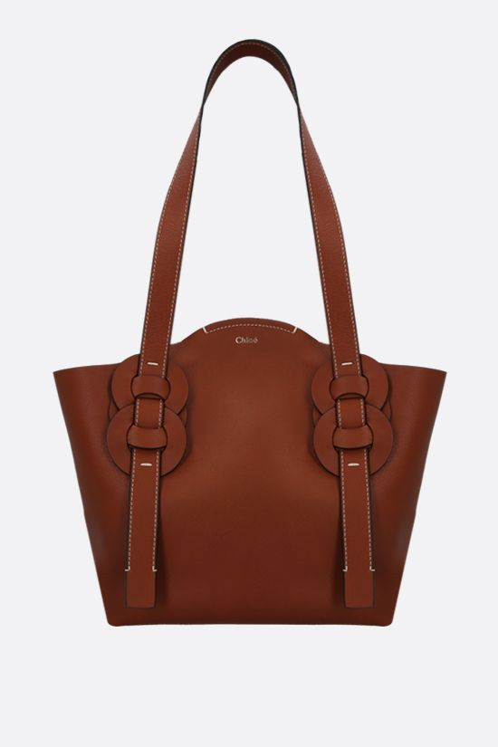 CHLOÈ: Darryl small smooth leather tote bag Color Brown_1