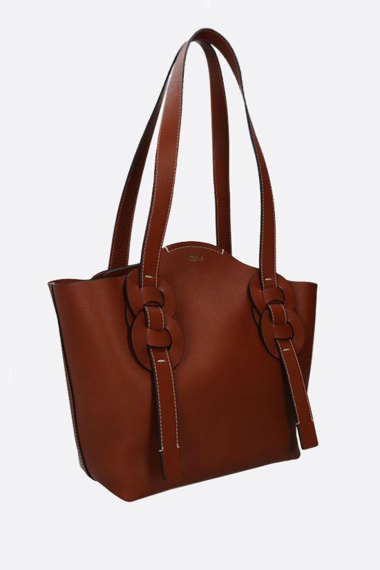 CHLOÈ: Darryl small smooth leather tote bag Color Brown_2
