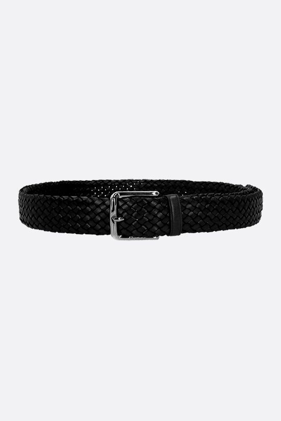 CHURCH'S: woven leather classic belt Color Black_1
