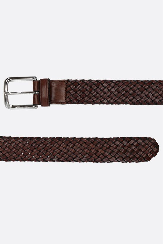 CHURCH'S: woven leather classic belt Color Brown_2