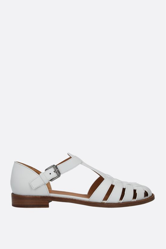 CHURCH'S: Kelsey flat sandals in Prestige leather Color White_1