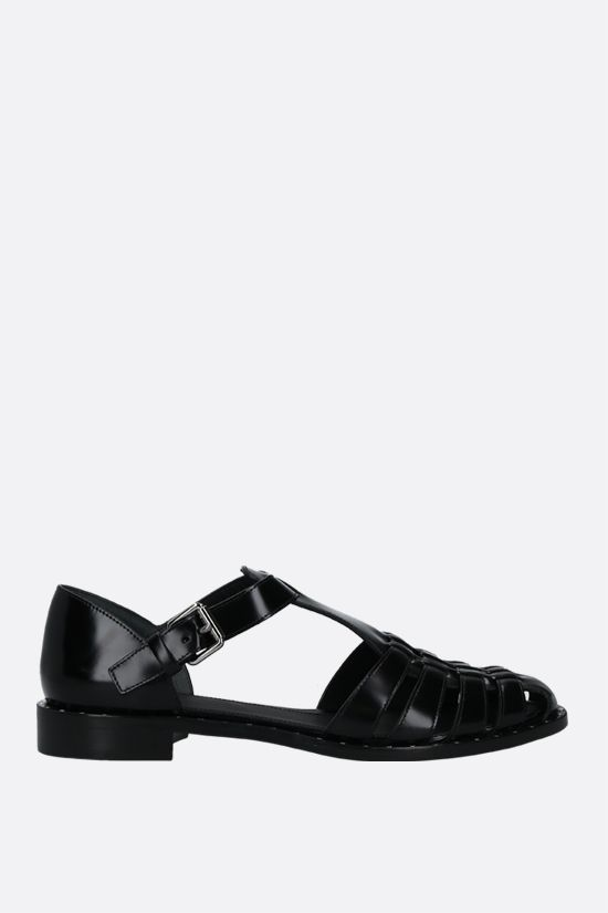 CHURCH'S: Kelsey Met brushed leather flat sandals Color Black_1