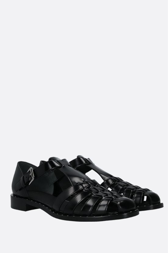 CHURCH'S: Kelsey Met brushed leather flat sandals Color Black_2